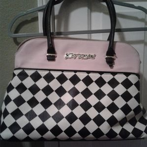 Checkerboard And Pink Betsey Johnson Purse